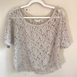 True Grit Short Sleeve Blush Lace Crop Top